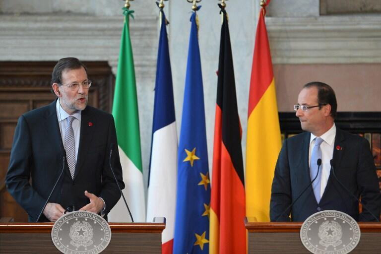 Thủ tướng Tây Ban Nha Mariano Rajoy và tổng thống Pháp François Hollande (AFP)