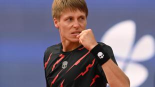 Belarus' Ilya Ivashka celebrates knocking top-seed Alexander Zverev out of the ATP tournament in Munich