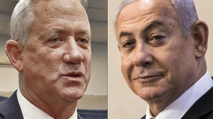 Prime Minister Benjamin Netanyahu (R) has agreed to govern jointly with his former rival, retired general Benny Gantz