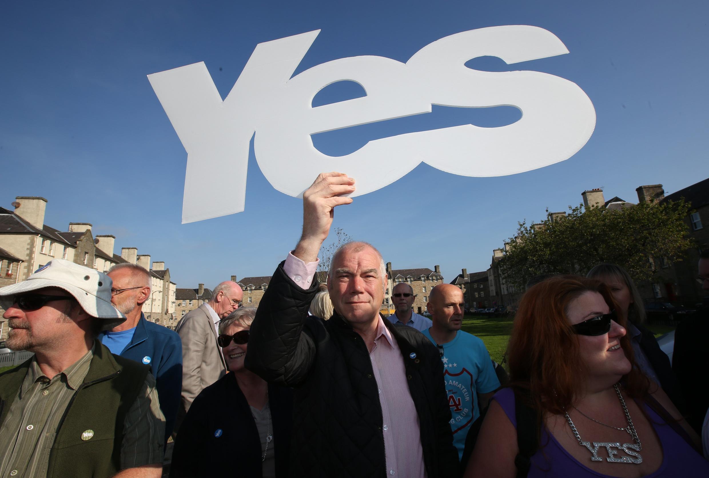 Сторонник независимости Шотландии, Эдинбург, 10 сентября 2014 г.