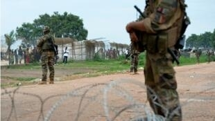 French soldiers secure the airport in Bangui as UN Secretary-General visits the displaced camp nearby on April 5, 2014