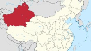 Región autónoma de Xinjiang o Sinkiqng. Trabajo propiográfico vectorial fue creado con Adobe Illustrator, de TUBS.