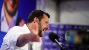 Matteo Salvini au siège du parti de la Ligue, après les résultats des élections au Parlement européen, à Milan, le 27 mai 2019.