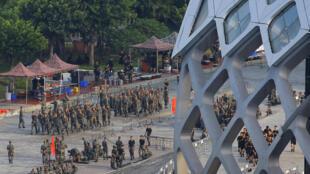 واحدهای ارتش خلق چین در استادیوم شهر «شِنزِن» در همسایگی هُنگ کُنگ مستقر شدهاند – ١۵ اوت ٢٠١٩