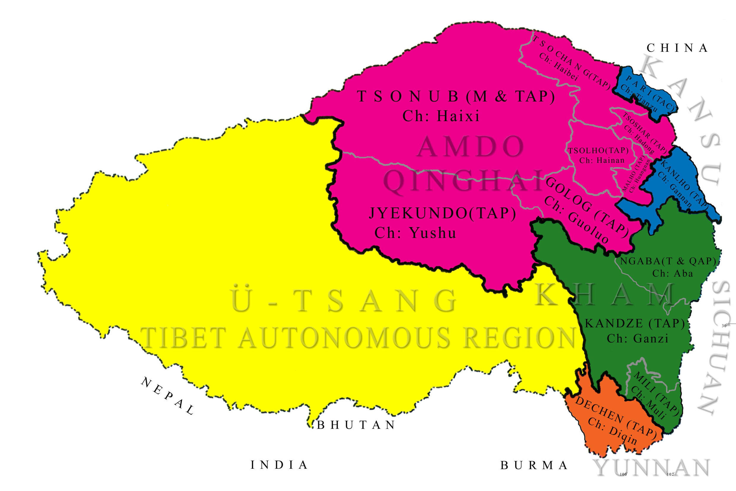 Map of Tibet according to the Tibetan Government in Exile. It includes regions inhabited by Tibetan minorities living in Chinese provinces Qinghai (in pink,) Sichuan (in green) and Yunnan (in orange.)