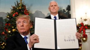 美国总统于周三宣布承认耶路撒冷为以色列首都资料图片