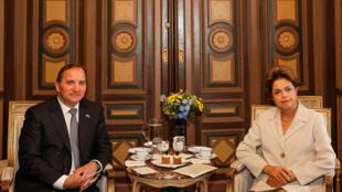 Presidenta Dilma Rousseff durante encontro com o primeiro-ministro da Suécia, Stefan Löfven.