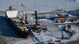 Hải cảng Sabetta ở bán đảo Yamal, vòng Bắc Cực cách thủ đô Nga 2.450 km © AFP