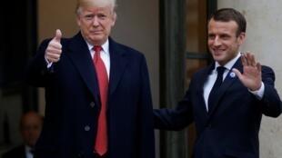 Shugaban Faransa Emmanuel Macron yayin karbar bakuncin Donald Trump a birnin Paris.