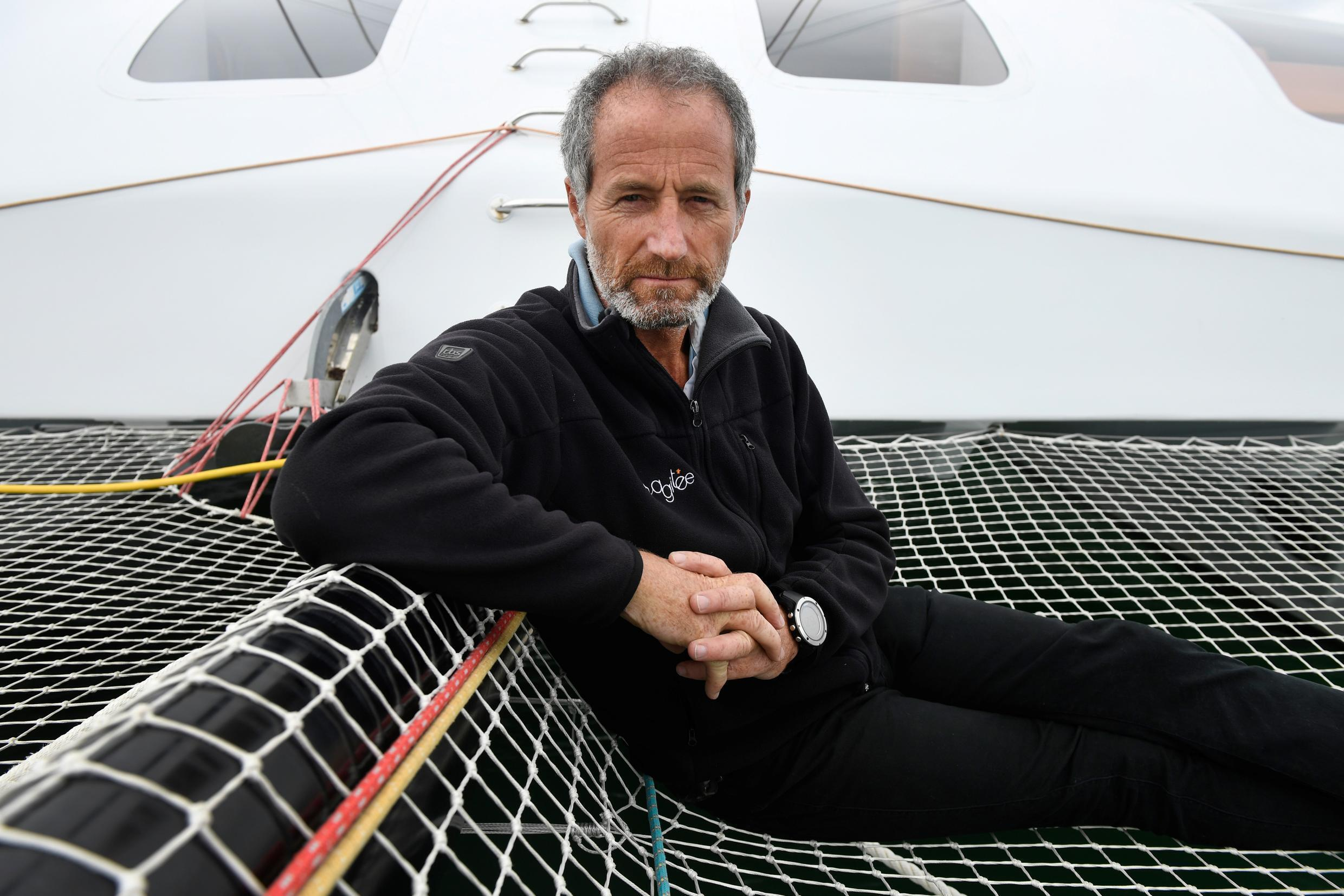 Michel Desjoyeaux, a two-time winner of the solo round the world Vendee Globe race, says sailing is much tougher than confinement