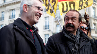 Les leaders de la CGT, Philippe Martinez et de FO, Yves Veyrier, le 19 mars 2019 à Paris.