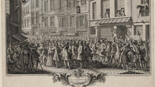 « Rue Quincampoix » par Humblot  Antoine, 1720,  estampe, collection Bibliothèque nationale de France