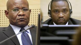Les milices congolais Mathieu Ngudjolo (g) et Germain Katanga lors de leurs procès à la CPI à La Hague, le 24 novembre 2009.