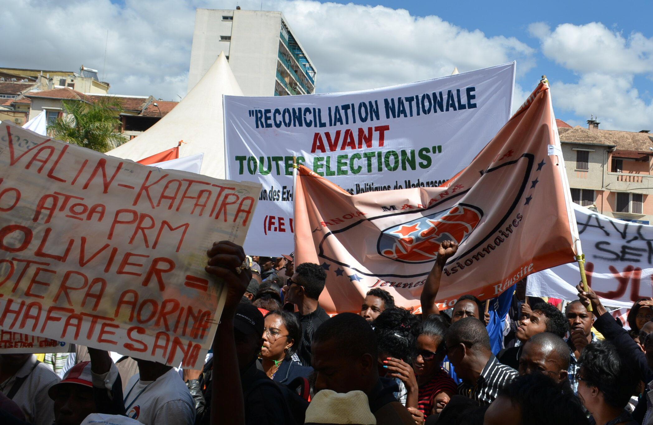 Manifestation de l'opposition contre les nouvelles lois électorales, à Antananarivo, le 25 avril 2018.