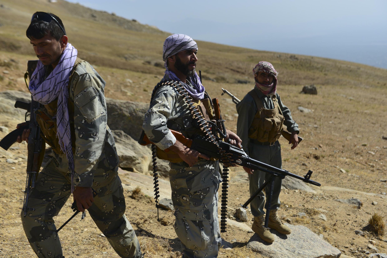 Miliziani della resistenza anti-italiana nella valle del Panjshir, Afghanistan, il 1 settembre 2021