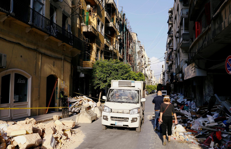 Eneo lililoharibiwa kufuatia mlipuko huko Beirut mnamo Agosti 11, 2020.