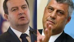 Ivica Dacic, le Premier ministre serbe et son homologue kosovar, Hashim Thaci.