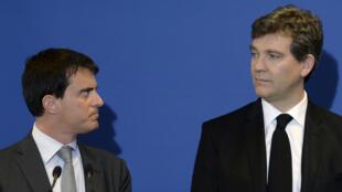 Manuel Valls y Arnaud Montebourg, en mayo de 2014.