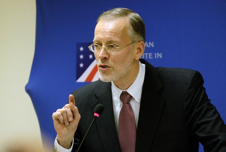 Ông Brent Christensen, giám đốc Viện Hoa Kỳ tại Đài Loan, trong buổi họp báo ở Đài Bắc ngày 31/10/2018.