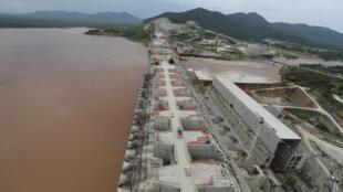 Le barrage de la Renaissance sur le Nil, en Éthiopie, le 26 septembre 2019.