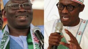 Shugaban Najeriya mai ci Goodluck Jonathan na Jam'iyyar PDP da babban mai adawa da shi tsohon Shugaban kasa Janar Muhammadu Buhari na Jam'iyyar APC.