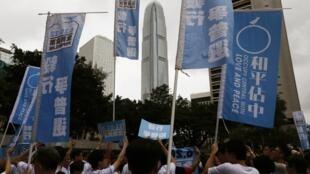 """2014年6月20日,香港民主運動支持者在中環地區號召參與民間""""佔中公投"""""""