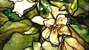 "Vitrail ""Magnolias"" de Louis C.Tiffany , c.1900."