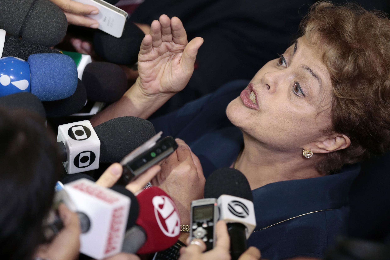 A presidente Dilma Rousseff em evento no Palácio do Planalto, 26 de fevereiro de 2015.