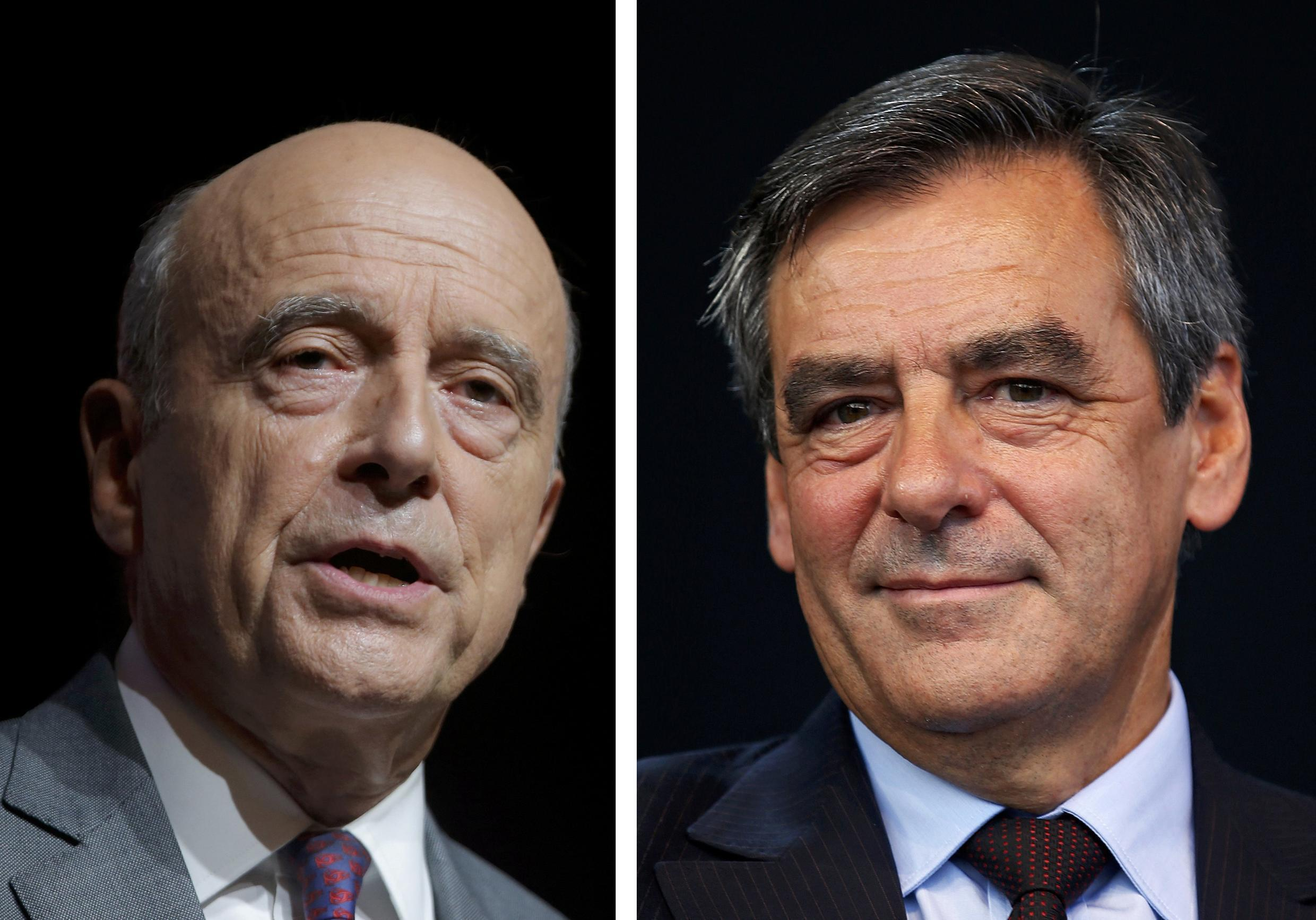 A combination of file photos shows Alain Juppe (L), current mayor of Bordeaux and François Fillon, a former prime minister, who lead in the first round French center-right presidential primary election November 20, 2016.