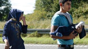 Một người di dân ở biên giới Đan Mạch - Đức, đang tìm đường đi về hướng Thụy Điển ngày 09/09/2015.