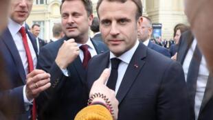 امانوئل ماکرون، رئیس جمهوری فرانسه در نشست اتحادیه اروپا در شهر Sibiu در رومانی. پنجشنبه ۱٩ اردیبهشت/ ٩ مه ٢٠۱٩