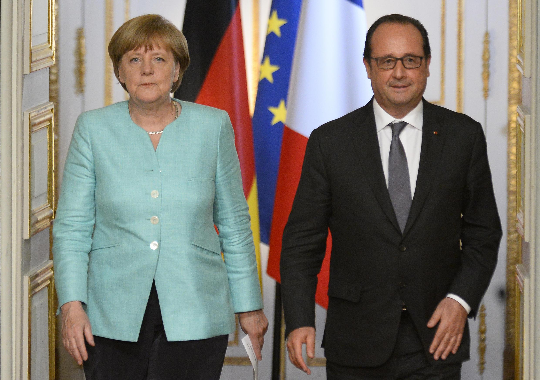 Ангела Меркель и Франсуа Олланд на встрече, посвященной обсуждению греческого кризиса, 6 июля 2015.