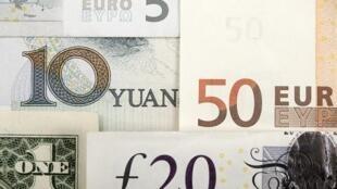 Đồng nhân dân tệ (10 yuan), đồng euro (50) và bảng Anh (20).