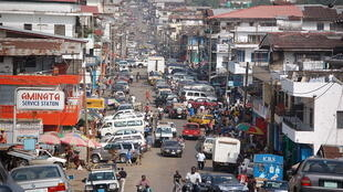 A street in downtown Monrovia