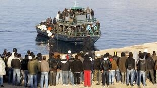 Migrants off the island of Lampedusa.