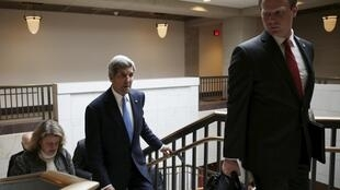 John Kerry, US Secretary of State, after talks in Madrid on 14 April 2015 on nuclear deal with Iran