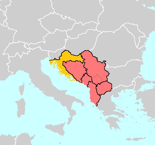 Khu vực tây Balkan, Nam Âu. Croatia màu vàng, các nước còn lại màu đỏ.