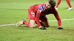 Bayern Munich forward Thomas Mueller shows his frustration during Wednesday's shock German Cup defeat at Holstein Kiel