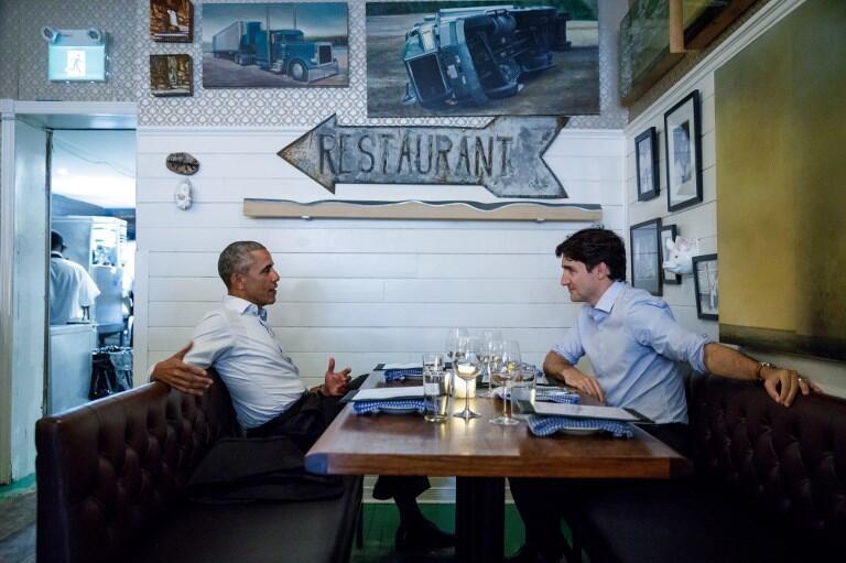 L'ex-président des Etats-Unis Barack Obama a rencontré le premier ministre canadien Justin Trudeau, le 6 juin 2017.
