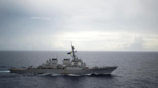 Ảnh tư liệu: Khu trục hạm Mỹ USS Decatur hoạt động trên Biển Đông ngày 13/10/2016.