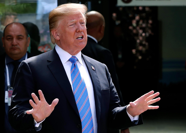Donald Trump na Amurka a jawabinsa gaban manema labarai yayin taron G7 a Faransa.