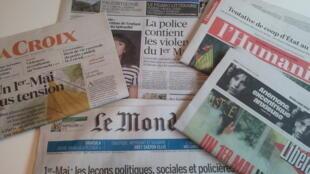 Primeiras páginas dos jornais franceses de 02 de maio de 2019