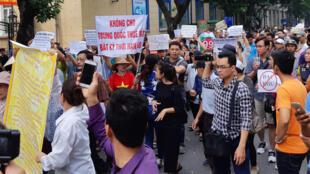 Người biểu tình ở Hà Nội phản đối dự luật Đặc khu, ngày 10/06/2018.