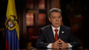 Juan Manuel Santos lors d'un discours à Bogota, le 18 juillet 2016.