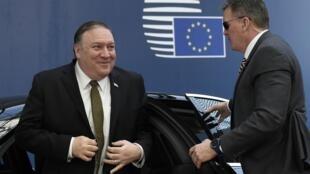 Secretário de Estado norte-americano, Mike Pompeo, à chegada à sede da UE, em Bruxelas. 13 de Maio de 2019.