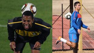 Robinho (à direita) e Cristiano Ronaldo são as esperanças de gols do duelo Brasil e Portugal