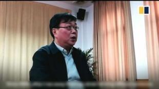 香港前書商桂民海接受採訪畫面,2018年2月9日