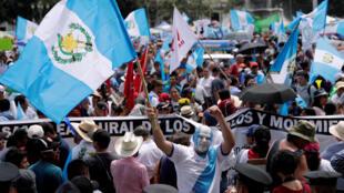 Manifestación contra el presidente Jimmy Morales, en Guatemala el 20 septembre 2018.