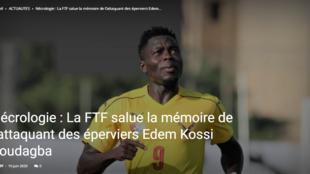 Sur son site internet, la Fédération togolaise de footblla rend hommage à l'international Edem Kossi Koudagba décédé prématurément jeudi 18 juin.