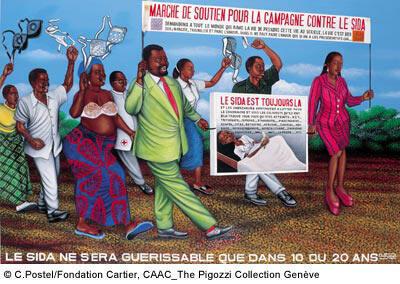 La célèbre toile «Le sida ne sera guérissable que dans 10 ou 20 ans» (1997) du peintre congolais Chéri Samba représente une manifestation de soutien pour une campagne contre le sida.